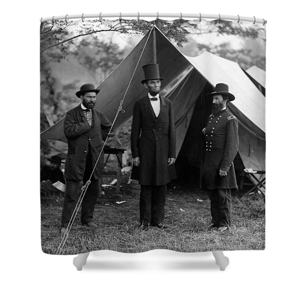 Lincoln With Allan Pinkerton - Battle Of Antietam - 1862 Shower Curtain