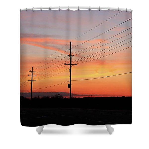 Lineman's Sunset Shower Curtain