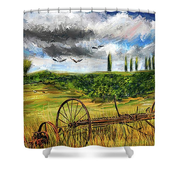 Lingering Memories Of The Past - Pastoral Artwork - Antique And Vintage Farm Equipment Shower Curtain