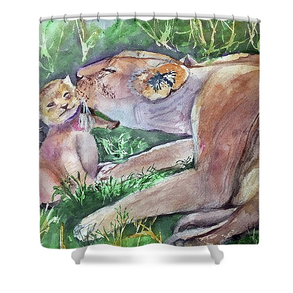 Lion And Cub Shower Curtain