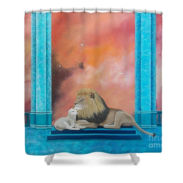 Shower Curtain featuring the painting Lion And Lamb by Tracey Goodwin