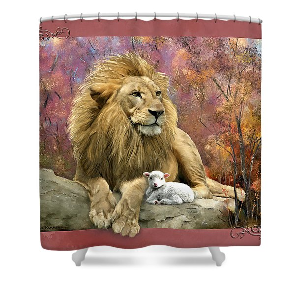 Lion And The Lamb Shower Curtain