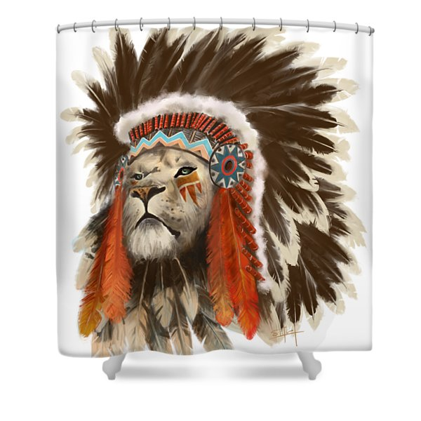 Shower Curtain featuring the painting Lion Chief by Sassan Filsoof