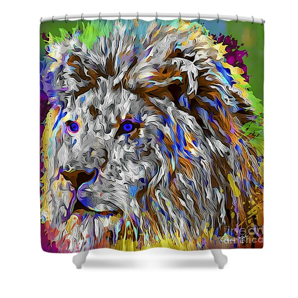 Shower Curtain featuring the digital art Lion King by Eleni Mac Synodinos
