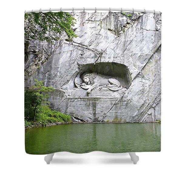 Lion Of Lucerne Shower Curtain