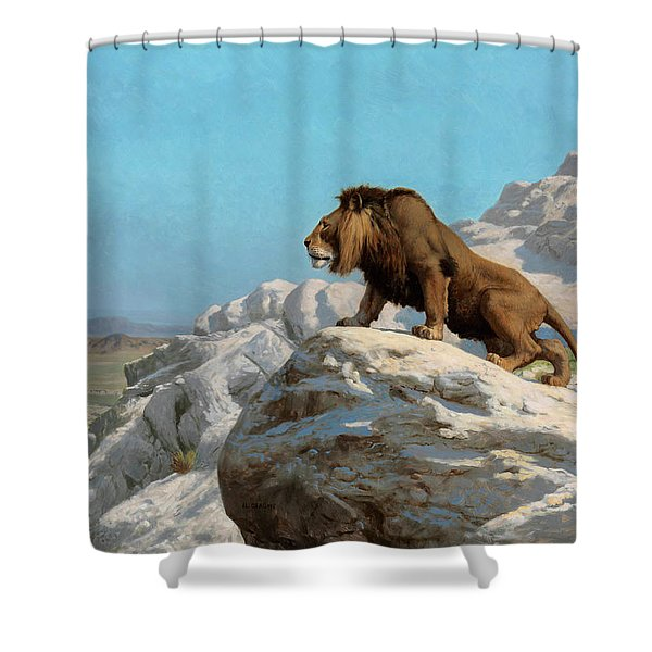 Lion On The Watch Shower Curtain