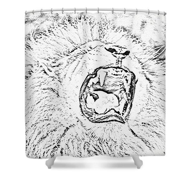 Lion Roar Drawing Shower Curtain