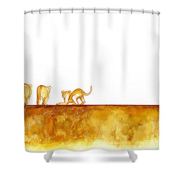 Lioness And Cubs - Original Artwork Shower Curtain