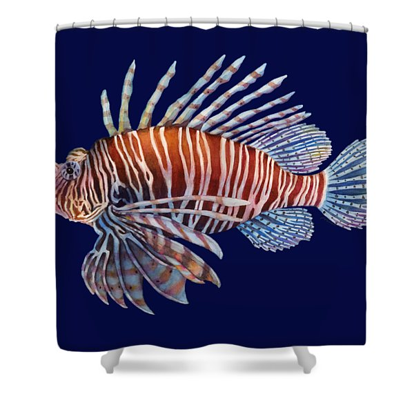 Lionfish In Black Shower Curtain