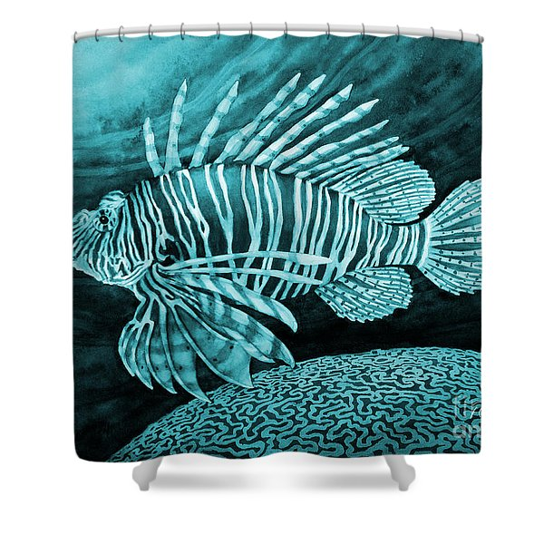 Lionfish On Blue Shower Curtain