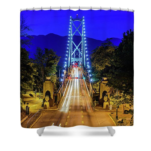 Lions Gate Bridge At Night Shower Curtain