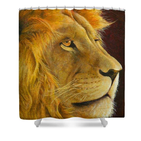 Lion's Gaze Shower Curtain