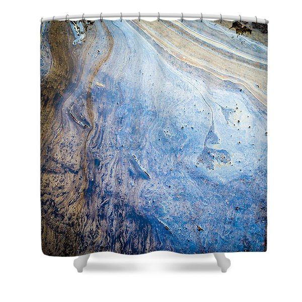 Liquid Oil On Water With Marble Wash Effects Shower Curtain