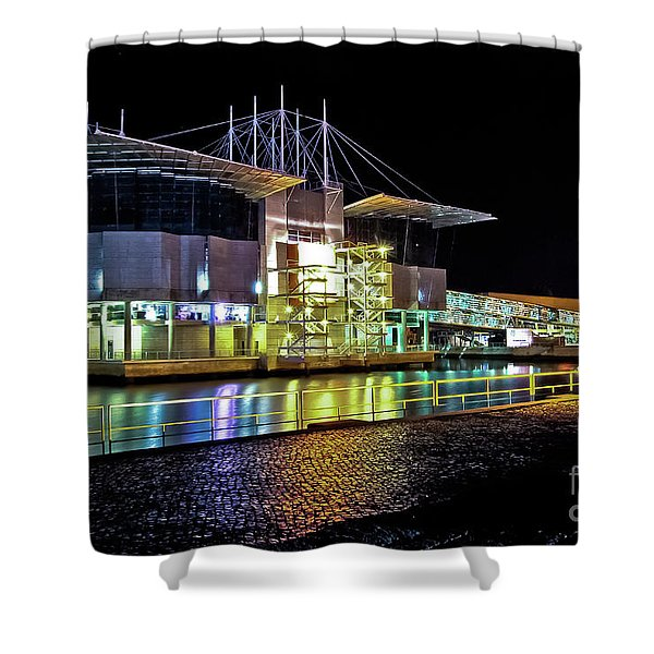 Lisbon - Portugal - Oceanarium At Night Shower Curtain