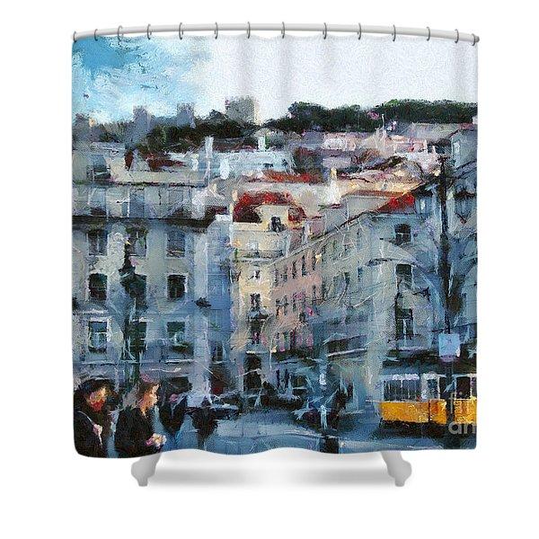 Lisbon Street Shower Curtain