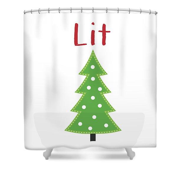 Lit Christmas Tree- Art By Linda Woods Shower Curtain