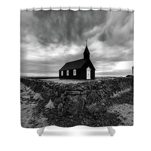 Little Black Church 2 Shower Curtain