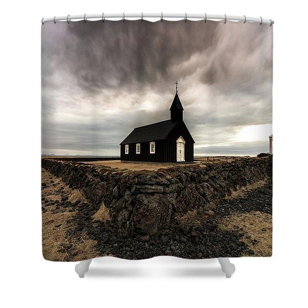 Little Black Church Shower Curtain