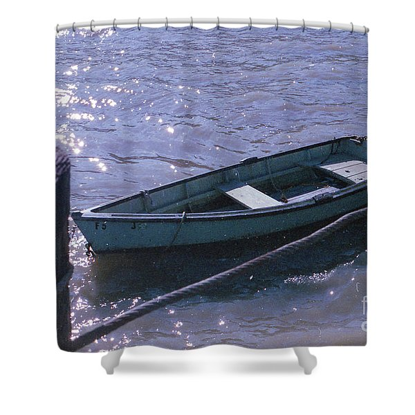 Little Blue Boat Shower Curtain