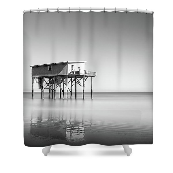 Little Blue In Black And White Shower Curtain