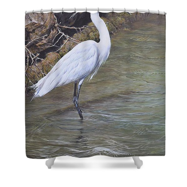 Shower Curtain featuring the painting Little Egret by Alan M Hunt