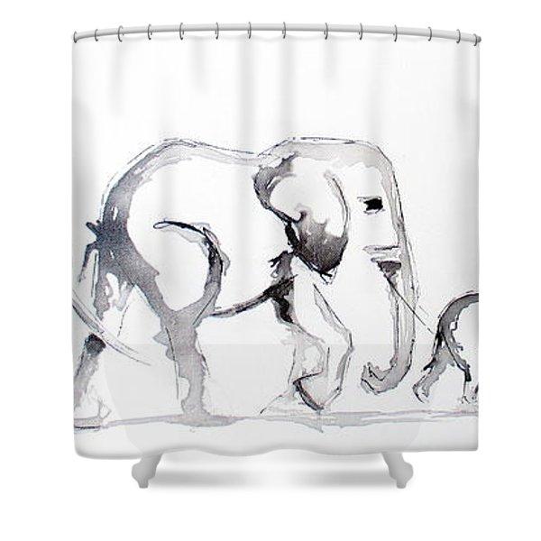 Little Elephant Family Shower Curtain
