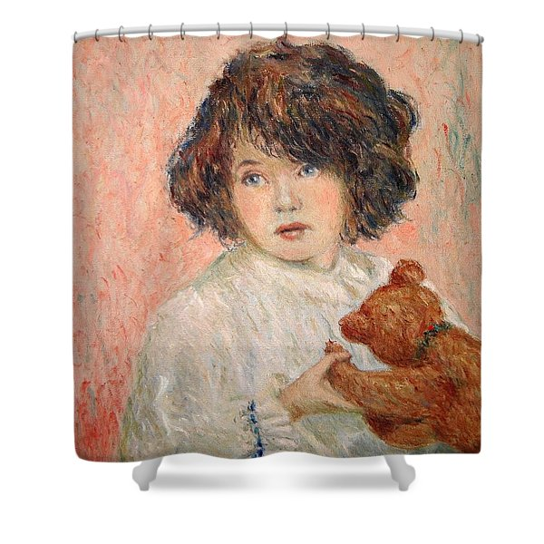Little Girl With Bear Shower Curtain