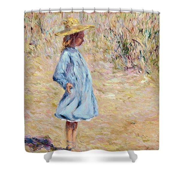 Little Girl With Blue Dress Shower Curtain
