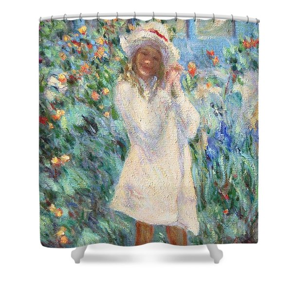 Little Girl With Roses / Detail Shower Curtain