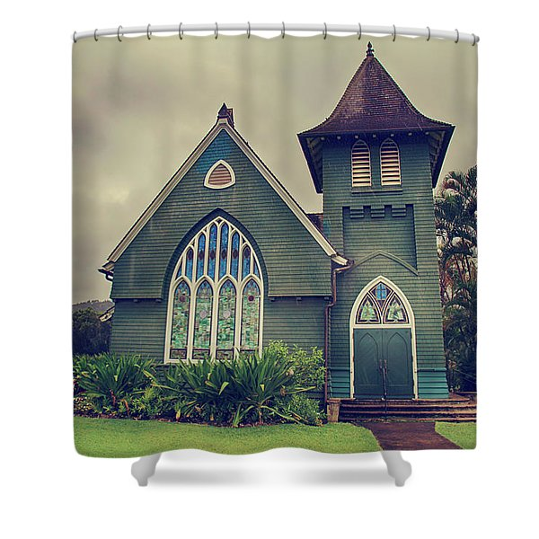 Little Green Church Shower Curtain