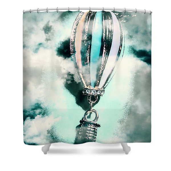 Little Hot Air Balloon Pendant And Clouds Shower Curtain