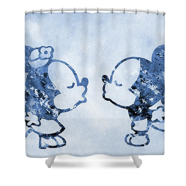 Little Mickey And Minnie Mouse-blue Shower Curtain