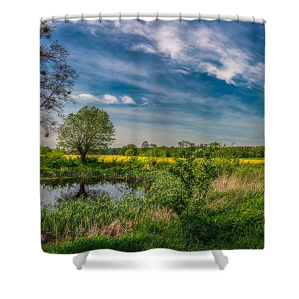 Little Pond Near A Rapeseed Field Shower Curtain