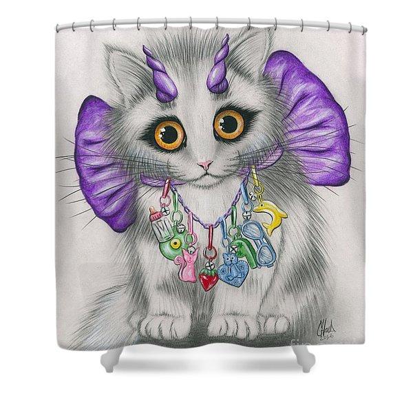 Little Purple Horns - 1980s Cute Devil Kitten Shower Curtain