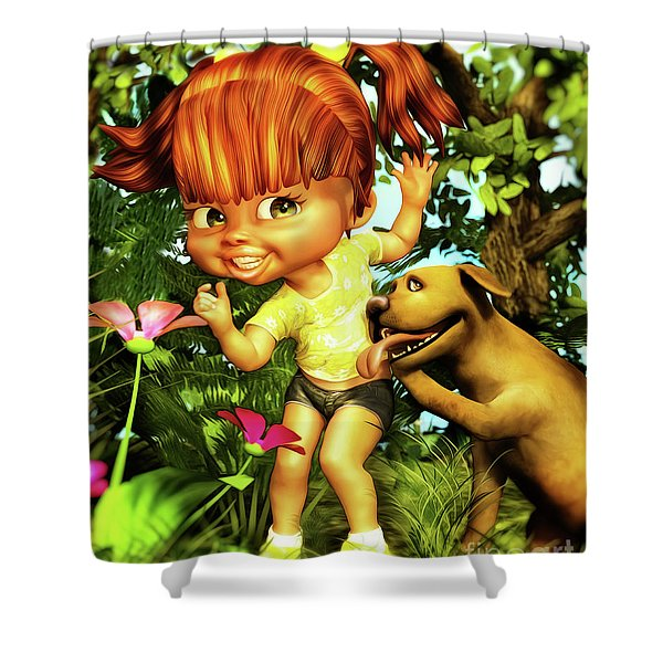 Little Redhead And Her Dog Shower Curtain