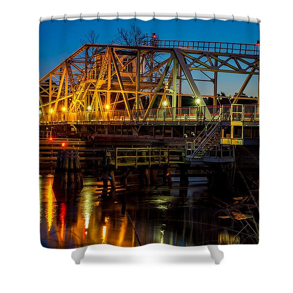 Little River Swing Bridge Shower Curtain