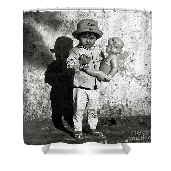 Shower Curtain featuring the photograph Little Vietnamese Girl Playing With Her Doll by Silva Wischeropp