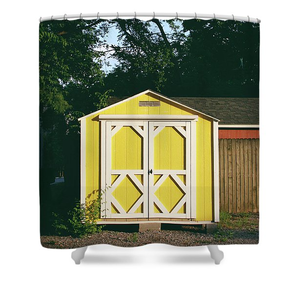 Little Yellow Barn- By Linda Woods Shower Curtain