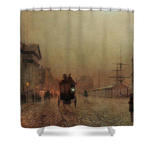 Liverpool Docks By Moonlight Shower Curtain