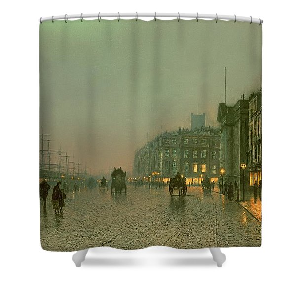 Liverpool Docks From Wapping Shower Curtain