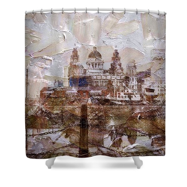 Shower Curtain featuring the painting Liverpool by Mark Taylor