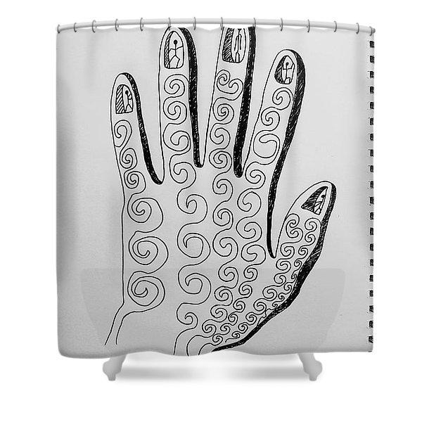 Lives Between The Fingertips Shower Curtain
