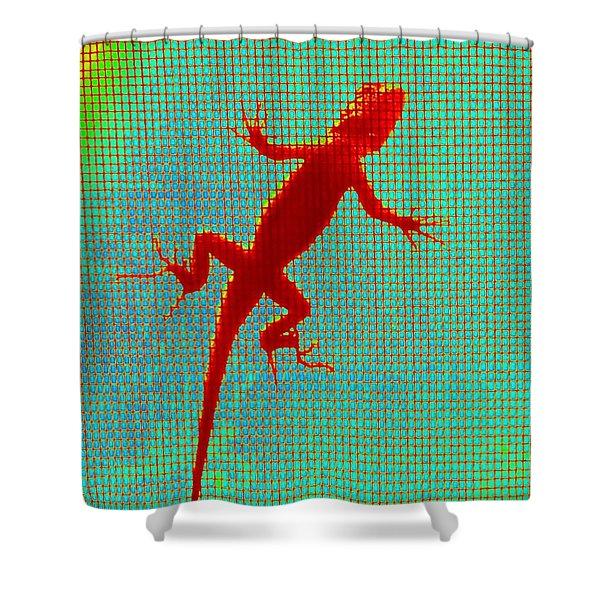 Lizard On The Screen Shower Curtain