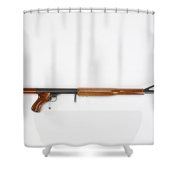 Ljutic Space Rifle Shower Curtain