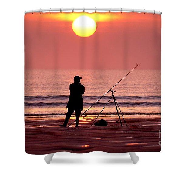 Llangennith Fishing At Sundown Shower Curtain