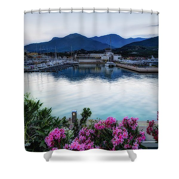 Loano Sunset Over Sea And Mountains With Flowers Shower Curtain