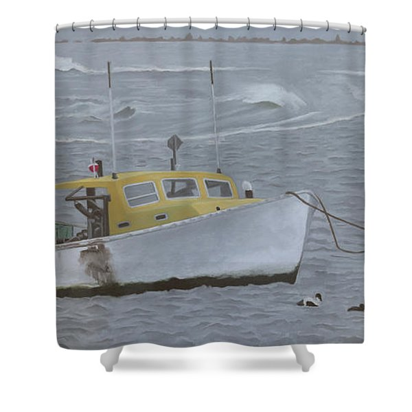 Lobster Boat In Kettle Cove Shower Curtain