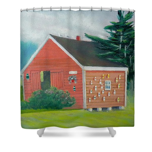Lobster Buoy Shack Shower Curtain