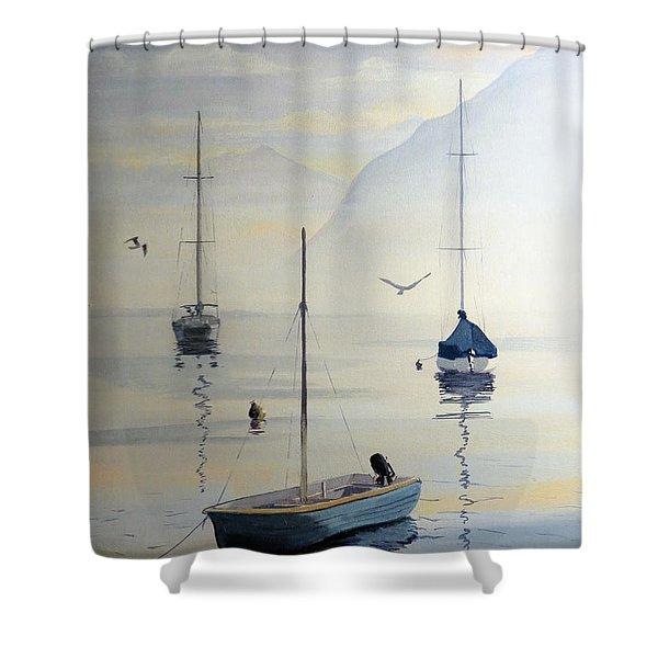 Locarno Boats In February Shower Curtain