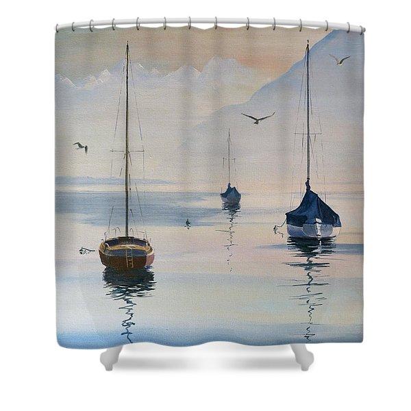 Locarno Boats In February-2 Shower Curtain